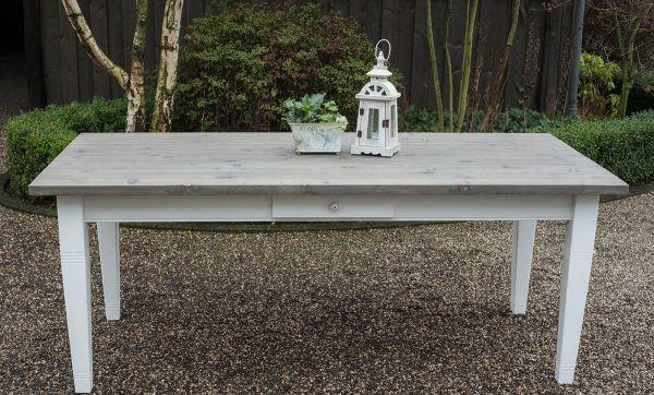 Esstisch Landhaustisch - Greta - weiß / grau